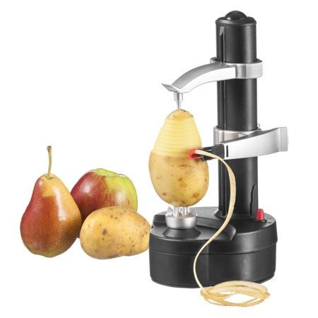 TOPCHANCES Electric Peeler Automatic Rotating Apple Peeler Potato Peeling Multifunction Stainless Steel Fruit and  Vegetable Electric Peeler Machine (Black)