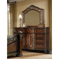 McFerran B163-D Antique Brass Cherry Wood Finish 9-drawer Dresser with Mirror