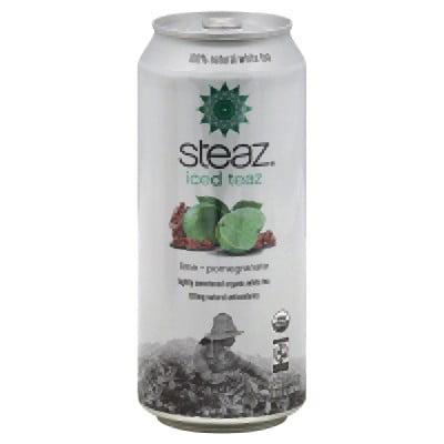 Steaz Iced Tea Can, Lime Green Pomegranate, Gluten Free, 16 Ounces