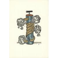 "GEORGE NAMA Air II 9.5"" x 6.5"" Linocut 1973 Multicolor"