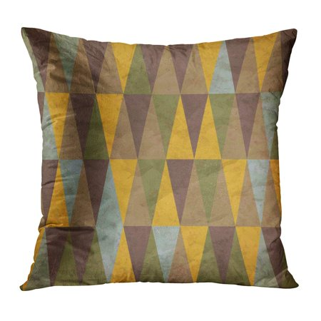 ECCOT Blue Harlequin Vintage of Colored Triangles Worn Brown Pattern Abstract Argyle Classic Diagonal PillowCase Pillow Cover 16x16 -