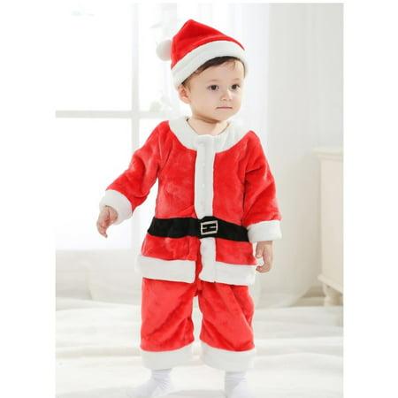 Little Boy Christmas Santa Claus Hat Belt Cloth Pants Costume- Size 100 (Red)](Ox Costume)