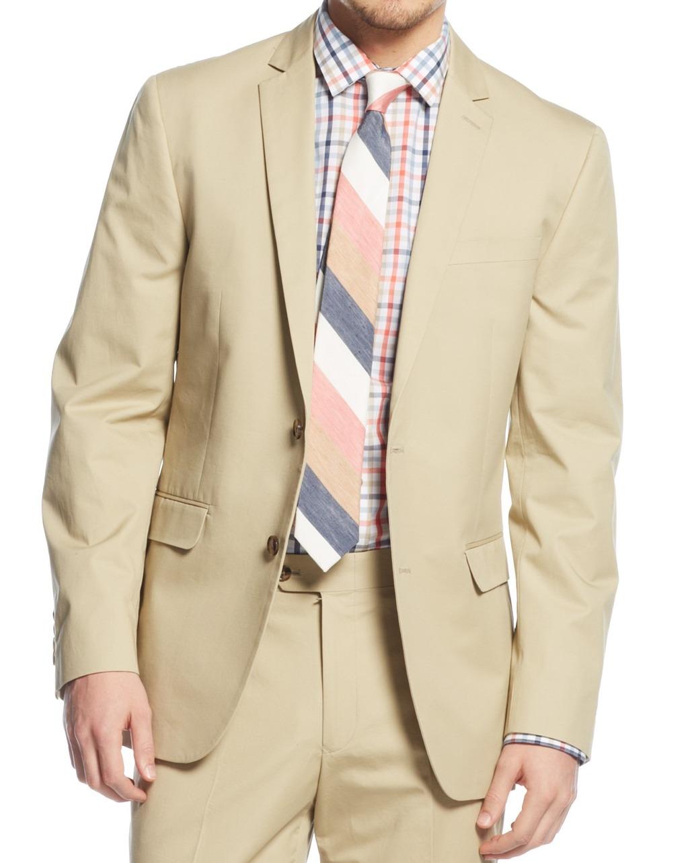 $400 Mens Bar III Tan Khaki 100/% Cotton Slim Fit Two Button Blazer Sportcoat