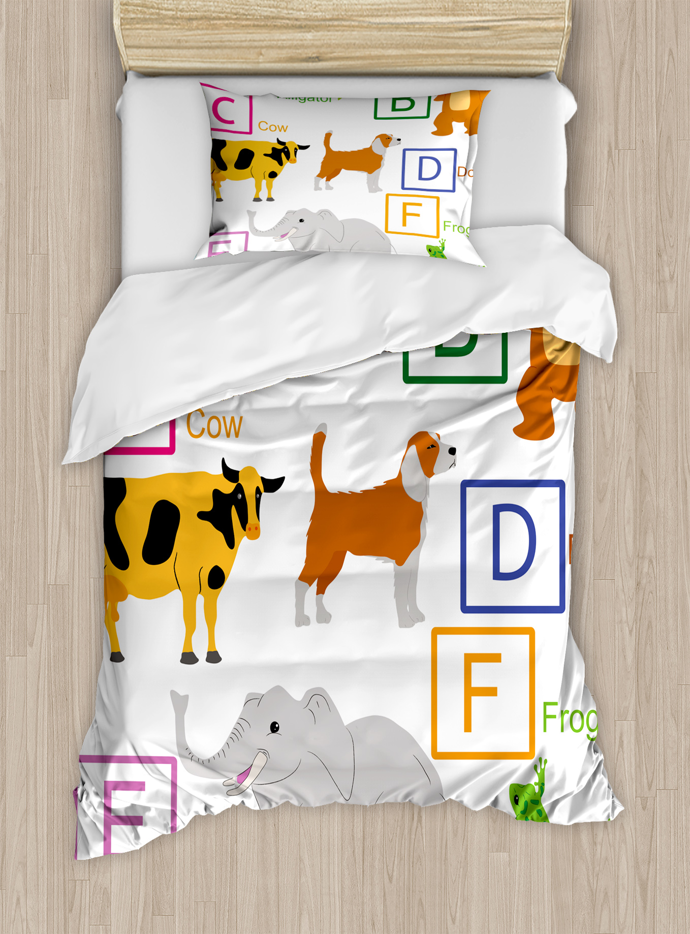 Educational Twin Size Duvet Cover Set, Alphabet Letters with Cute Zoo Animals Kids Fun... by Kozmos