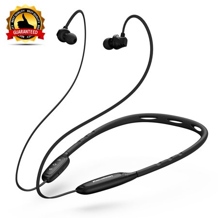 Sports Earbud Wireles Neckband Headset, Excelvan Noise-Canceling IPX5 Waterproof Earphones, BT Headphones W1, W/Call Vibrate Alert, Built-In Mic For IPhone Android Cell