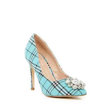 Blue Plaid Rhinestone - Lauren Lorraine Giselle-2 Slip On Rhinestone Slim Heel Stiletto Teal Plaid Pump (8.5)
