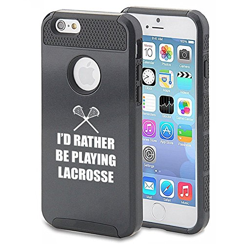 Apple iPhone 6 6s Shockproof Impact Hard Case Cover I'd Rather Be Playing Lacrosse (Black),MIP