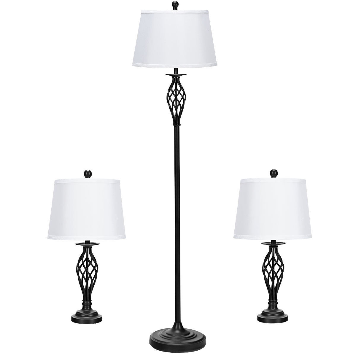 Gymax 3 Piece Lamp Set 2 Table Lamps 1 Floor Lamp Fabric Shades