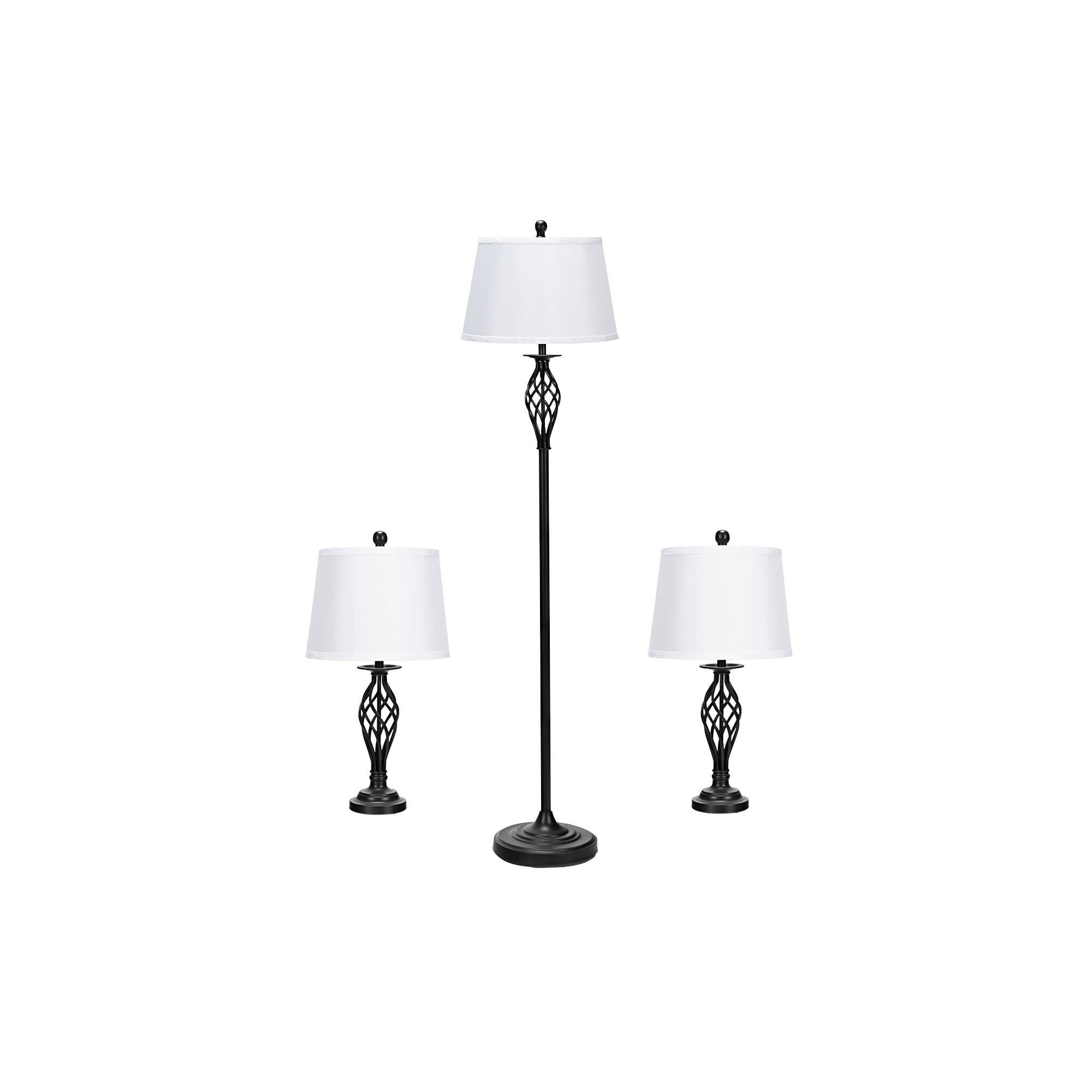 Gymax 1111-Piece Lamp Set 1111 Table Lamps 11 Floor Lamp Fabric Shades Living Room  Bedroom