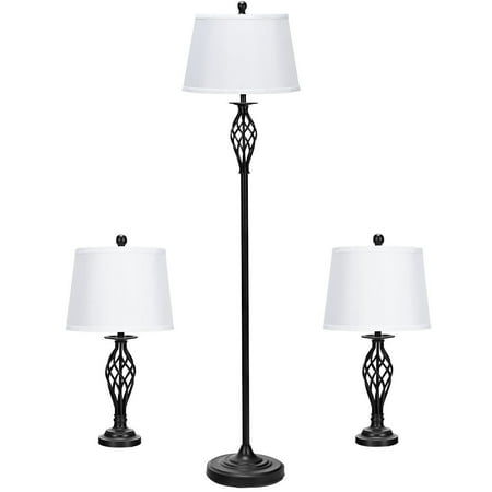 - Gymax 3-Piece Lamp Set 2 Table Lamps 1 Floor Lamp Fabric Shades Living Room Bedroom