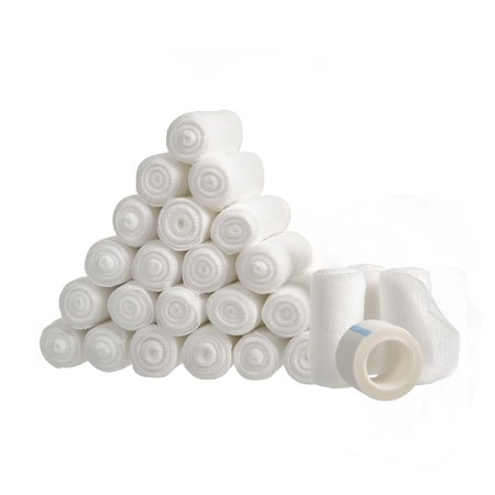 """24 Gauze Bandage Rolls with Medical Tape, 2"""" x 4 Yards Stretched, Stretch Bandage Roll, FDA Approved, Medical Grade Sterile First Aid Wound Care, Dressing, by California Basics ()"""