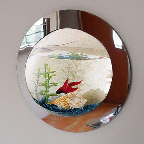 Vandue Corporation 1 Gallon Reflection Fish Bubble Deluxe Mirrored Wall Mounted Aquarium Tank