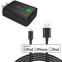 Adaptive Fast Quick Charger for iPhone XS Max XR X SE 8 PLUS 7 Plus 6S Plus 6 Plus 18W Qualcomm QC3.0 Home Rapid Charger 6ft USB MFI Cable Adapter Wall Travel AC Power Smart Detect Long Certified