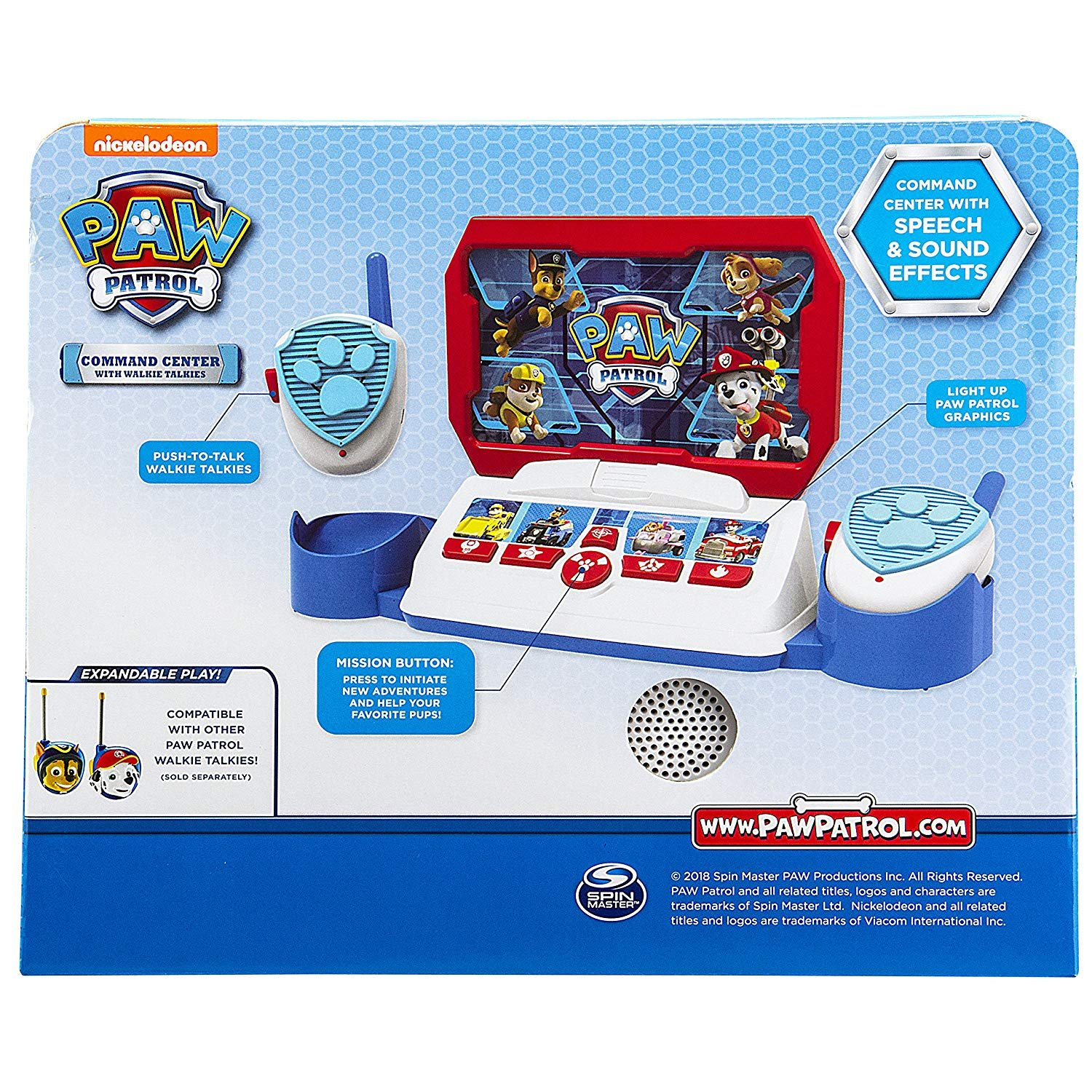 Paw Patrol Command Center with Kid Friendly Walkie Talkies /& Sound Effects
