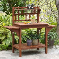 Coral Coast Halstead Outdoor Wood Potting Bench With Storage- Brown