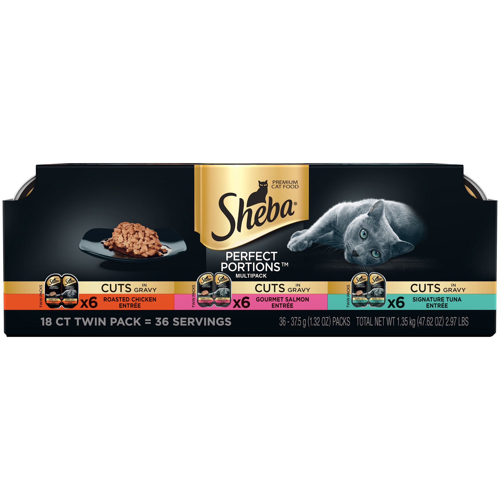 Sheba Perfect Portions Cuts In Gravy Wet Cat Food, Grain Free Chicken, Salmon, Tuna Multipack, 2.6 Oz (18 Twin Packs)