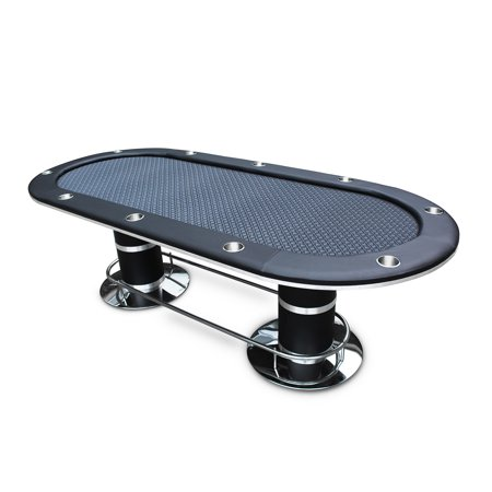 Poker Table for 10 Players Black Speed Cloth Oval 96 x43 Inch Stainless Steel Cup Holders Pedestal Base By IDS Poker - Oval Pedestal Base
