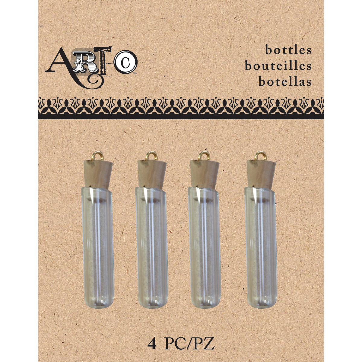 Art-C Mini Glass Bottles-Clear Tube W/Cork 4/Pkg