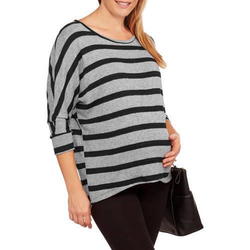 Inspire Maternity Striped Hacci Dolman Top