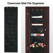 Classroom Wall File Organizer OTVIAP Hanging File Organizer Wall File Organizer with 10 Storage Pockets & 3 Hangers Classroom Office(Black,14 x 47 inch)