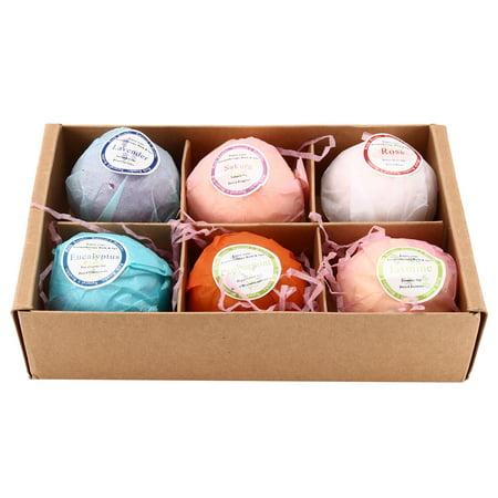 Bath Ball Replacement - 6Pcs Rainbow Bubble Bath Bombs Set Scented Sea Salt Handmade Fizzy Ball Spa Christmas Gift