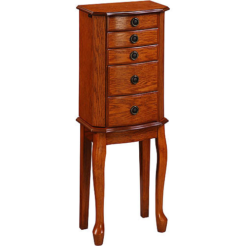 Linon Ruby Jewelry Armoire, Walnut Finish