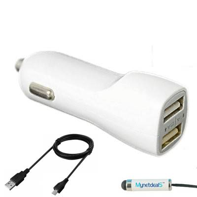 2.1Ah Micro USB Car/ DC Charger for Huawei P10 Lite,Y3, Y3 2017,Honor 6C,Mate 9 Lite, Honor 8 Lite (Dual USB Port, Charging Cable included) - White + MND Stylus
