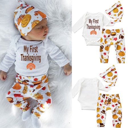 af73e8c35 My First Thanksgiving Romper Cute Outfit Baby Newborn Boy Girl ...