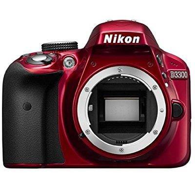 nikon d3300 24.2 mp cmos digital slr body only (red) - international version (no