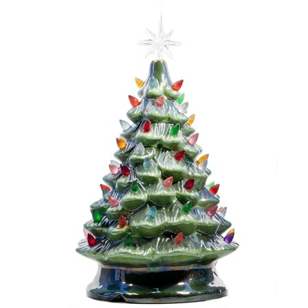 ReLive Christmas is Forever Lighted Tabletop Ceramic Tree, 14.5 Inch Pearlized Green Tree with Multicolored Lights ()