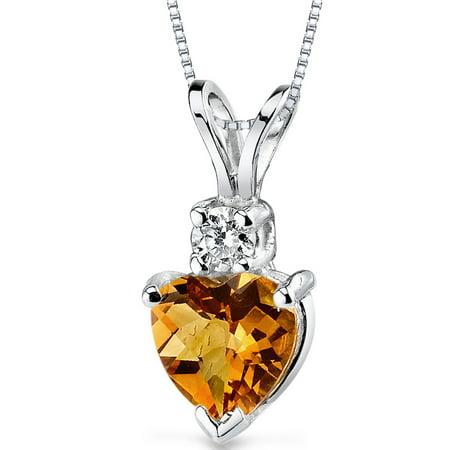 0.75 Carat T.G.W. Heart-Cut Citrine and Diamond Accent 14kt White Gold Pendant, 18