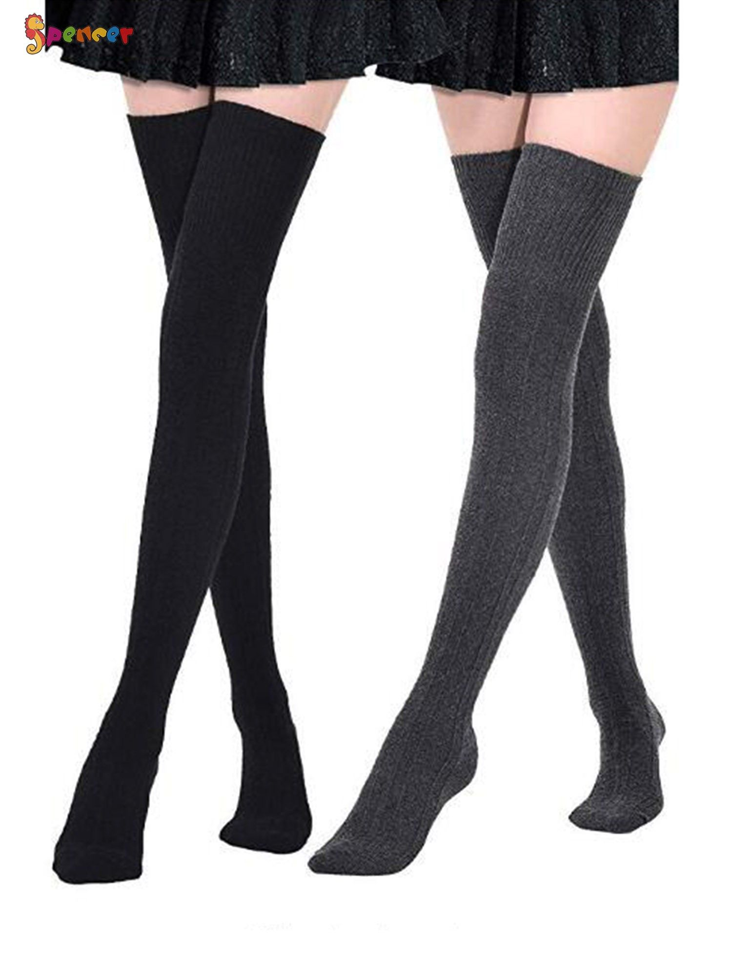 Women Knee High Cotton Boot Socks Vintage Back To School Alphabet ABC Tall Boots Long Sock
