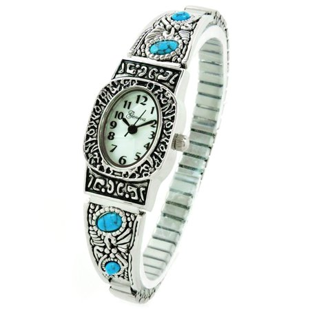 Silver Turquoise Oval Face Decorated Women