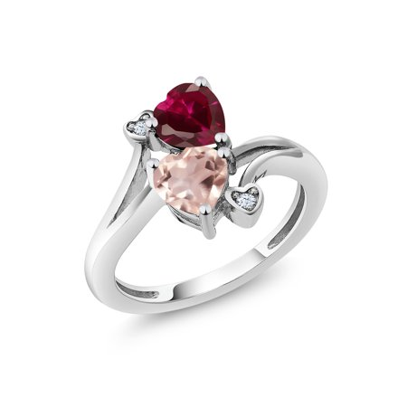1.69 Ct Heart Shape Red Created Ruby Rose Rose Quartz 925 Sterling Silver Ring