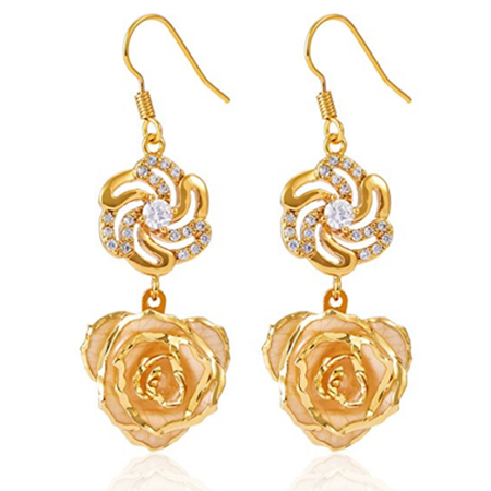 Yosoo 24k Real Rose Flower Gold Earrings Gift For Women S Petal Dangle With