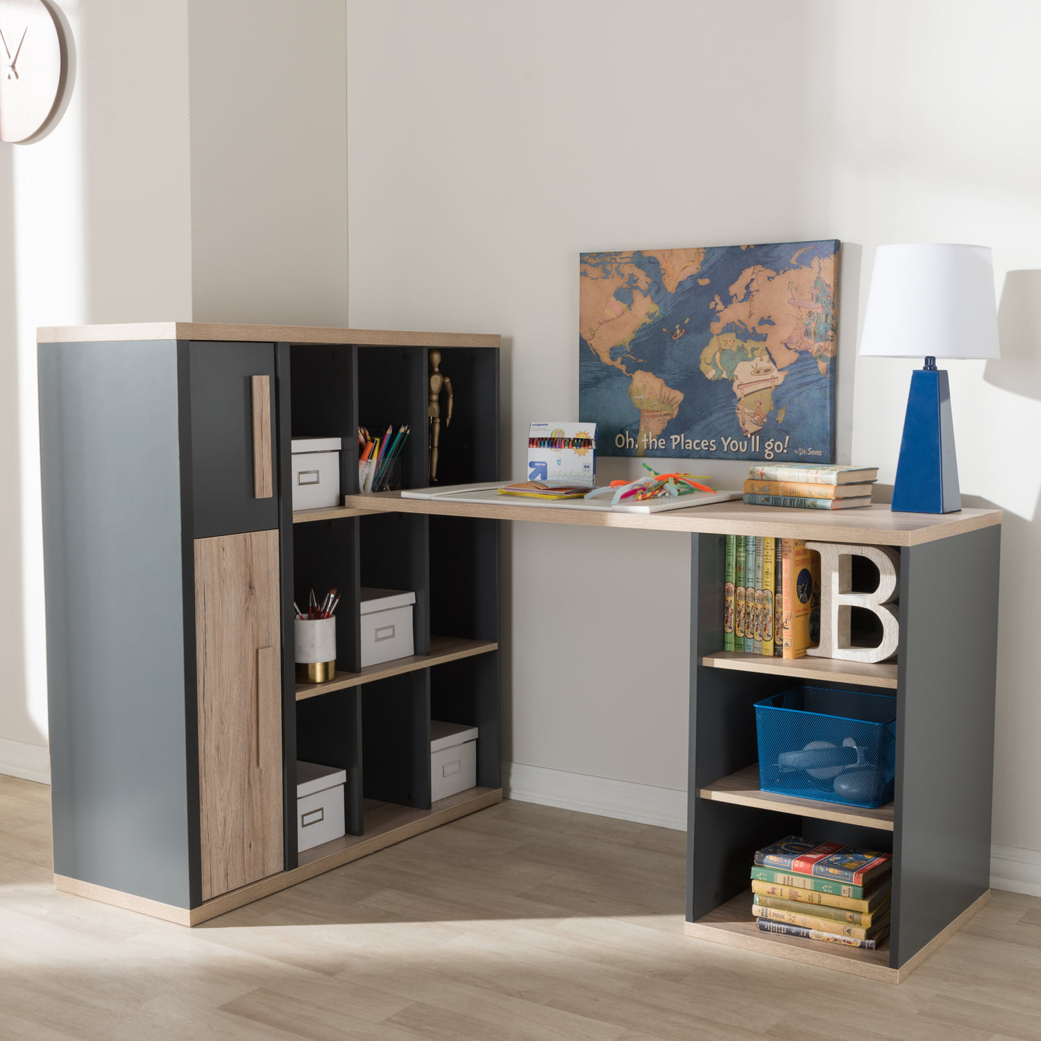 Baxton Studio Pandora Modern and Contemporary Dark Grey and Light Brown  Two Tone Study Desk with Built in Shelving Unit ColorGrey,FinishMedium ...