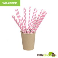 """Pack n' Wood 210CHP21PINKW, 8.3""""x0.2"""", Pink Striped Wax Coated Paper Straws Wrapped, 500/PK"""