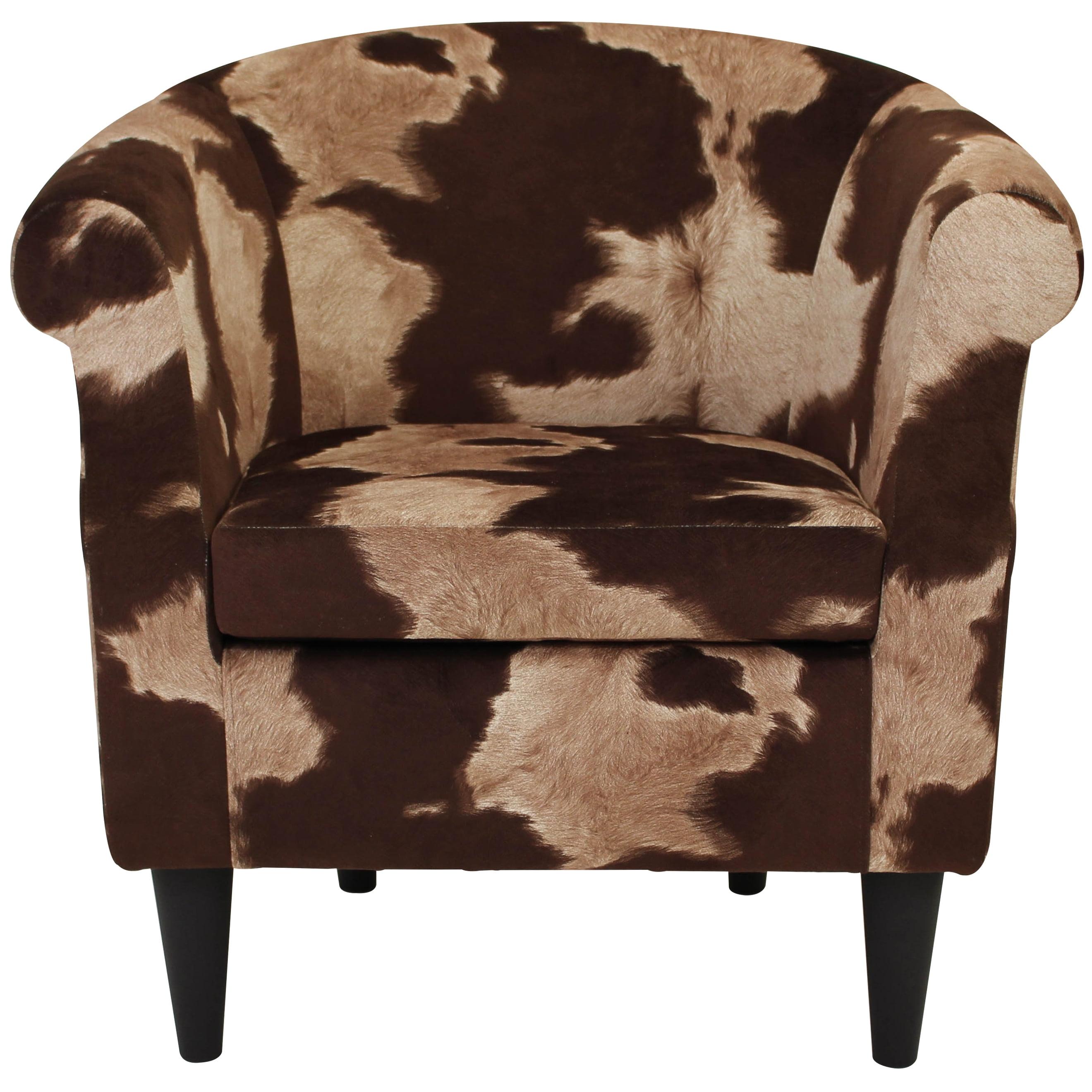 Nikole Club Chair Cowhide Brown Walmart Com