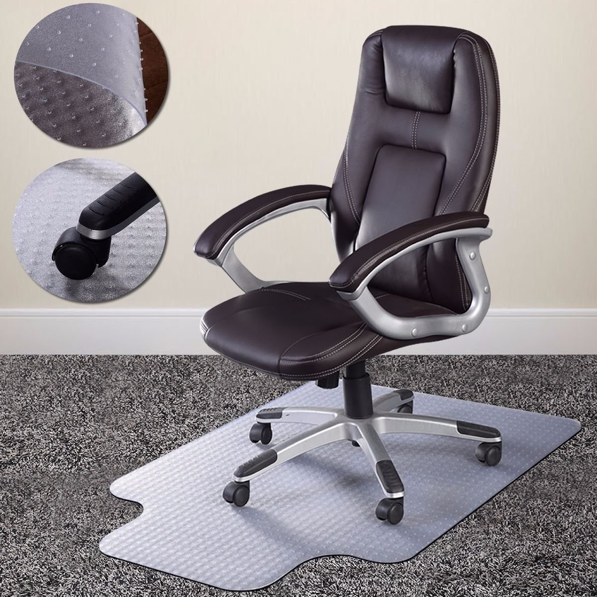 "36"" x 48"" Home Office Chair PVC Floor Mat Studded Back with Lip For Pile Carpet, Specifications Product Size: 48x36 Color: Clear Thickness: 2.0mm Shape:.., By unbrand"