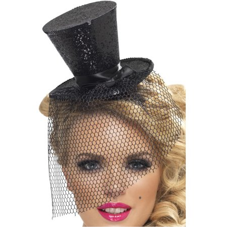 Womens Black Mini Top Hat With Detachable Black Veil Costume Accessory