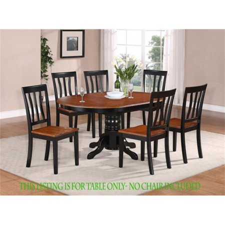 East West Furniture AVT-BLK-TP Avon Oval Table With 18 In. Butterfly  Leaf-Black and Cherry Finish