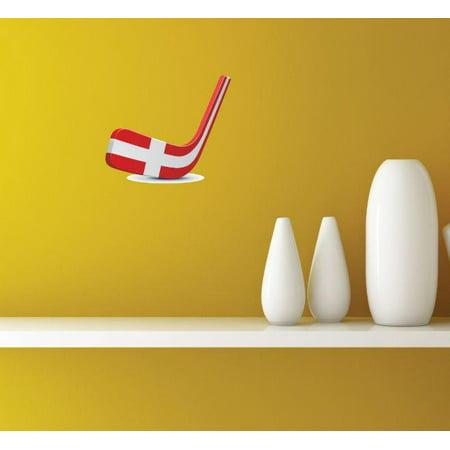 Custom Decals - Prices Reduced Vinyl Wall Sticker : Denmark Hockey Puck  Stick Sport Team Bedroom Bathroom Living Room Mural : 40 X60