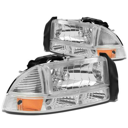 99 Dodge Neon Headlight - For 97-04 Dodge Dakota/Durango 4pcs Replacement Headlight+Bumper Lights (Chrome Housing Amber Reflector) 99 00 01 02 03