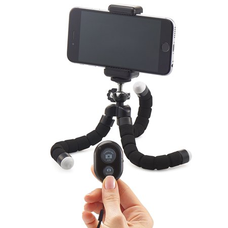 Mini Cell Phone Tripod - Flexible Tripod with Bluetooth Remote and  Universal Clip for iPhone, Android Phone, Camera, Sports Camera