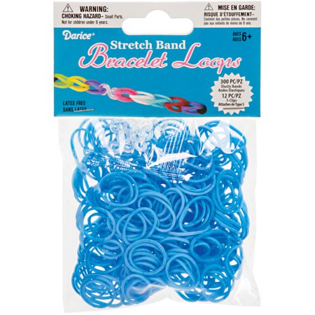 Darice Accessory Loops - Darice Stretch Band Bracelet Loops  Light Blue Color  300 Bands  12 Clasps