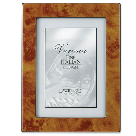 Natural Faux Burl 4x6 Picture Frame - Polished Lustrous Finish With Sides Finished In
