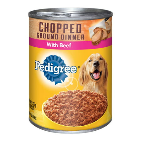 (12 Pack) PEDIGREE Chopped Ground Dinner With Beef Adult Canned Wet Dog Food, 13.2 oz.