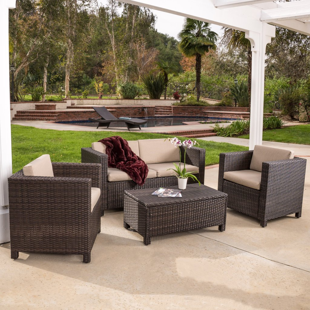 Gordon 4-piece Brown Outdoor Wicker Sofa Set
