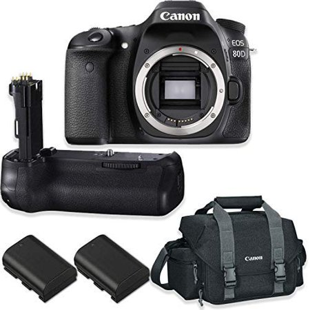 Canon EOS 80D DSLR Camera Body Only Kit with Canon 300-DG Digital Gadget Bag + Replacement BG-E14 Battery Grip + 2 Replacement LP-E6 (D-bg2 Battery Grip)