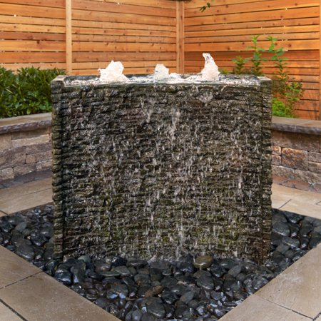 Aquascape Stacked Slate Spillway Wall Water Feature Complete Landscape Kit